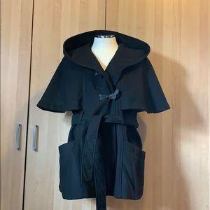 Jessica Simpson Black Cape Coat XL with Hood